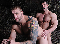 Muscle cock Zeb Atlas is fucking porn star Colby Jansen in tour of duty